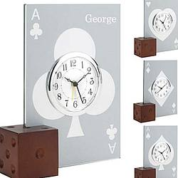 Personalized Glass Casino Card Alarm Clock with Wooden Die Base