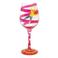 Cutting the Red Tape Hand-Painted Wine Glass