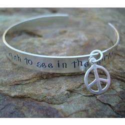 Be the Change Hand Stamped Cuff Bracelet
