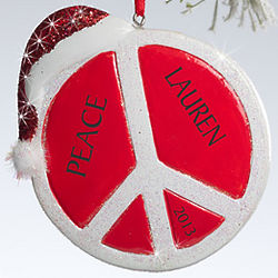 Personalized Peace Sign Christmas Ornament