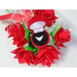 Valentine's Day Duct Tape Roses with Heart Necklace
