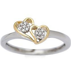 Diamond Accent 14kt Two Tone Gold Heart Ring