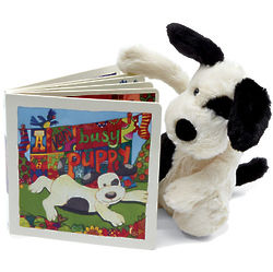 Bashful Black and Cream Puppy with Children's Book