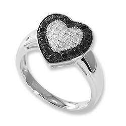 Black and White Dimaond Heart Promise Ring