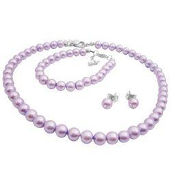 Flower Girl Purple Pearls Necklace Earrings & Bracelet Set