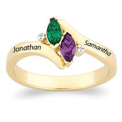 Couple's Birthstone and Name Ring with Diamond Accents