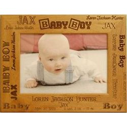 Personalized Baby Boy Wooden Picture Frame