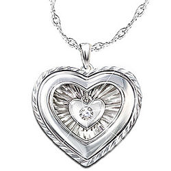 Engraved Granddaughter Diamond Pendant with Dangling Heart