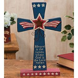 Psalm 33:12 Patriotic Wooden Cross