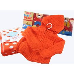 Orange Cotton Blanket and Hoodie Set with Stacking Toy