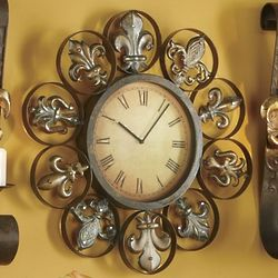 Grand Time Fleur-De-Lis Wall Clock