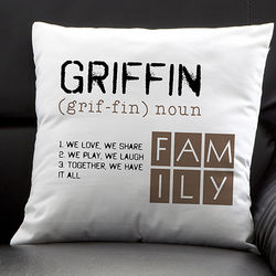 Definition of Our Family Personalized Pillow