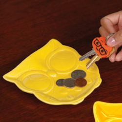 Yellow Ceramic Owl Tray