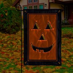 Jack-O-Lantern Fiber Optic Garden Flag