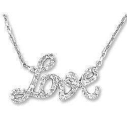 Love Sterling Silver and Diamond Necklace
