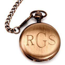 Brushed Bronze Metal Engravable Pocket Watch