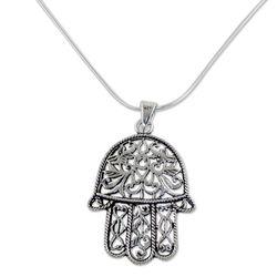 Living Hamsa Sterling Silver Pendant