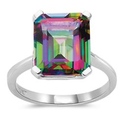 Emerald Mystic Fire Topaz Solitaire 10K White Cold Ring
