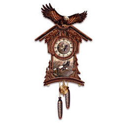 Timeless Majesty Cuckoo Clock with Bald Eagle Art