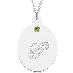 14k White Gold August Peridot Oval Engraveable Pendant