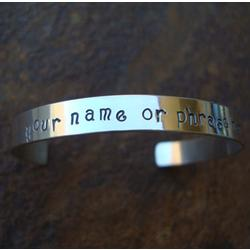 Personalized Hand Stamped Cuff Bracelet