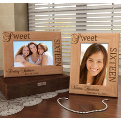 Personalized Sweet Sixteen Wooden Picture Frame