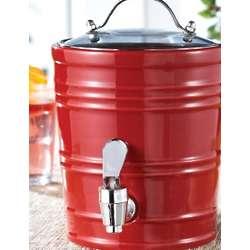 Cherry Red Ceramic Beverage Dispenser