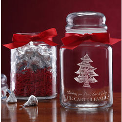 Personalized Christmas Candy Jar with Chocolate Kisses