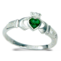 Sterling Silver Claddagh Ring with Emerald Heart