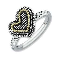 Antique Heart Beaded Ring in Sterling Silver