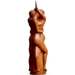 Couple in Love Wood Statuette