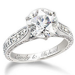 Love's Perfection Engagement-Style Engraved Ring