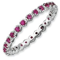 Stackable Sterling Silver Faux Ruby Band