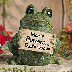 Mom's Flowers, Dad's Weeds Frog Garden Sculpture