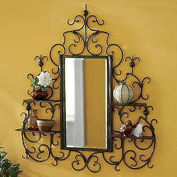 Scroll Mirror with Shelves
