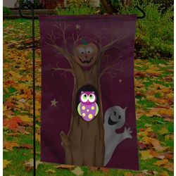 Halloween Owl, Ghost and Pumpkin Illuminated Garden Flag