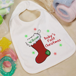Baby's 1st Christmas Personalized Stocking Baby Bib