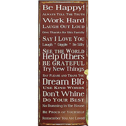 Be Happy Metal Wall Sign