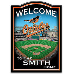 Baltimore Orioles Personalized Wooden Welcome Sign