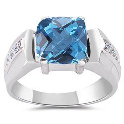 Swiss Blue Topaz & Diamonds 10K White Gold Ring