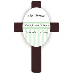 Personalized Baptismal Cross in Green