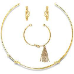 Gold-Tone Love Knot Choker, Earrings and CZ Fringe Bracelet