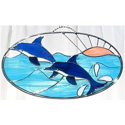 Stained Glass Dancing Dolphins on Oval Ring