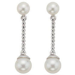 Pearl Dangle Earrings in 14K White Gold