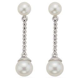 Pearl Dangle Earrings in 14K White Gold