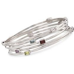 Set of Five Multi-Gem Bangle Bracelets in Sterling Silver