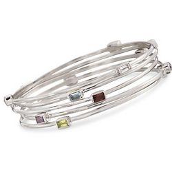 Set of Five Multi-Gem Bangle Bracelets in Sterling Silver