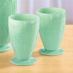 Jade Green Glass Juice Glasses