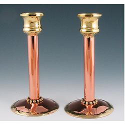 Copper with Brass Cup Candlesticks