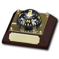 Engravable Compass on Wood Plaque